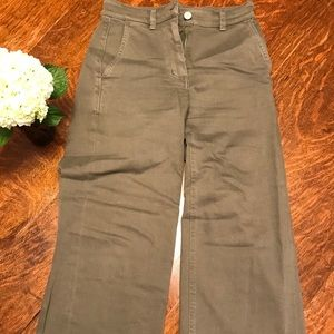 Everlane military green wide jean jeans, size 0.